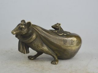Old Exquisite China Copper Carving Mouse Carrying Gold Bag Statue Bild