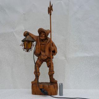 66cm Großer Nachtwächter Holzfigur Geschnitzt Mit Laterne Lampe Elektrisch 2 Kg Bild