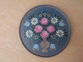 Bauernmalerei Teller Holzteller - Blumenmotive Blumen Volkskunst - Blau Bild