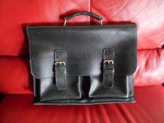 Alte Echt Leder Aktentasche,  Lehrertasche,  Schultasche,  Ledertasche,  Schwarz Bild