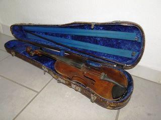 Uralte Geige Violine,  Kasten & Bogen Art Deco Brocante Shabby Frankreich Bild