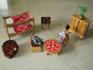 Vintage Lundby Puppenhaus Möbel Kinderzimmer Aus 60 - Er,  Rar Bild