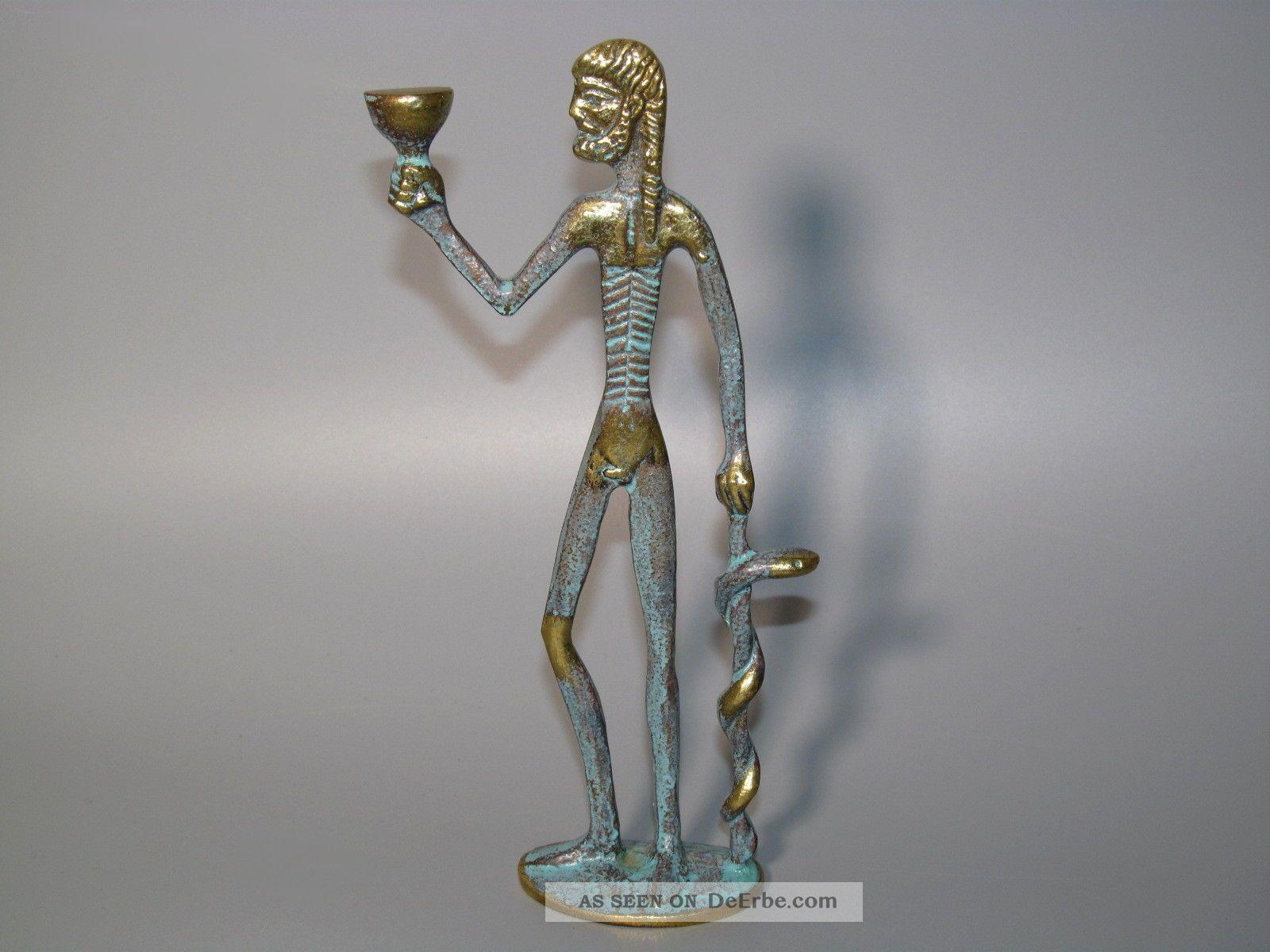Hippokrates Von Kos Mit Äskulapstab Messing - Figur Skulptur Aeskulap - Stab Arzt 1950-1999 Bild