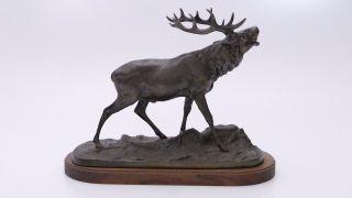 Antike Alte Metall Figur Röhrender Hirsch Jagd Jäger P.  J.  Mene Bronze ? Bild