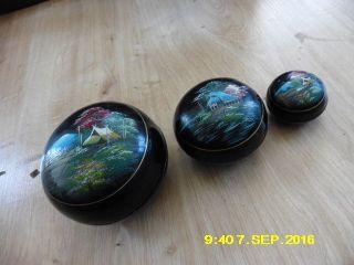 Japanische Lackdose 3x Dose Miniatur Malerei Deckel Asiatika Lack Dosen Bild