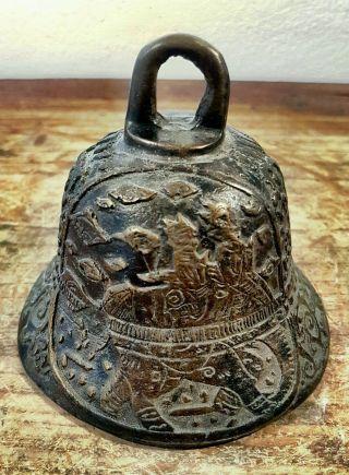 Buddha Tempel Glocke Bronze Klang Figur Statue Antik Thailand Bild