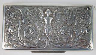 Zigarettenetui Mitte 19.  Jahrhundert,  Mit Streichholzfach,  Historismus,  Floral Bild