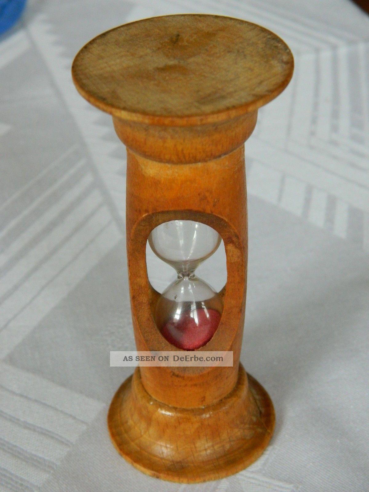 Selten Apotheker Nachlass Kleine Sanduhr - Holz - Schönes Stück Um 1920 - Rarität Antike Bild