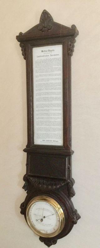 Altes Barometer W.  Lambrecht Göttingen Mit Wetter - Regeln Bild