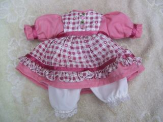 Alte Puppenkleidung Pink White Dress Outfit Vintage Doll Clothes 28 Cm Girl Bild