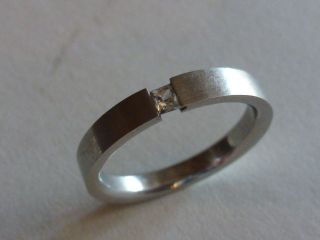 Spannring Edelstahl Ring Stein Eckig Stainless Steel Designerring Schmuck 19mm Bild