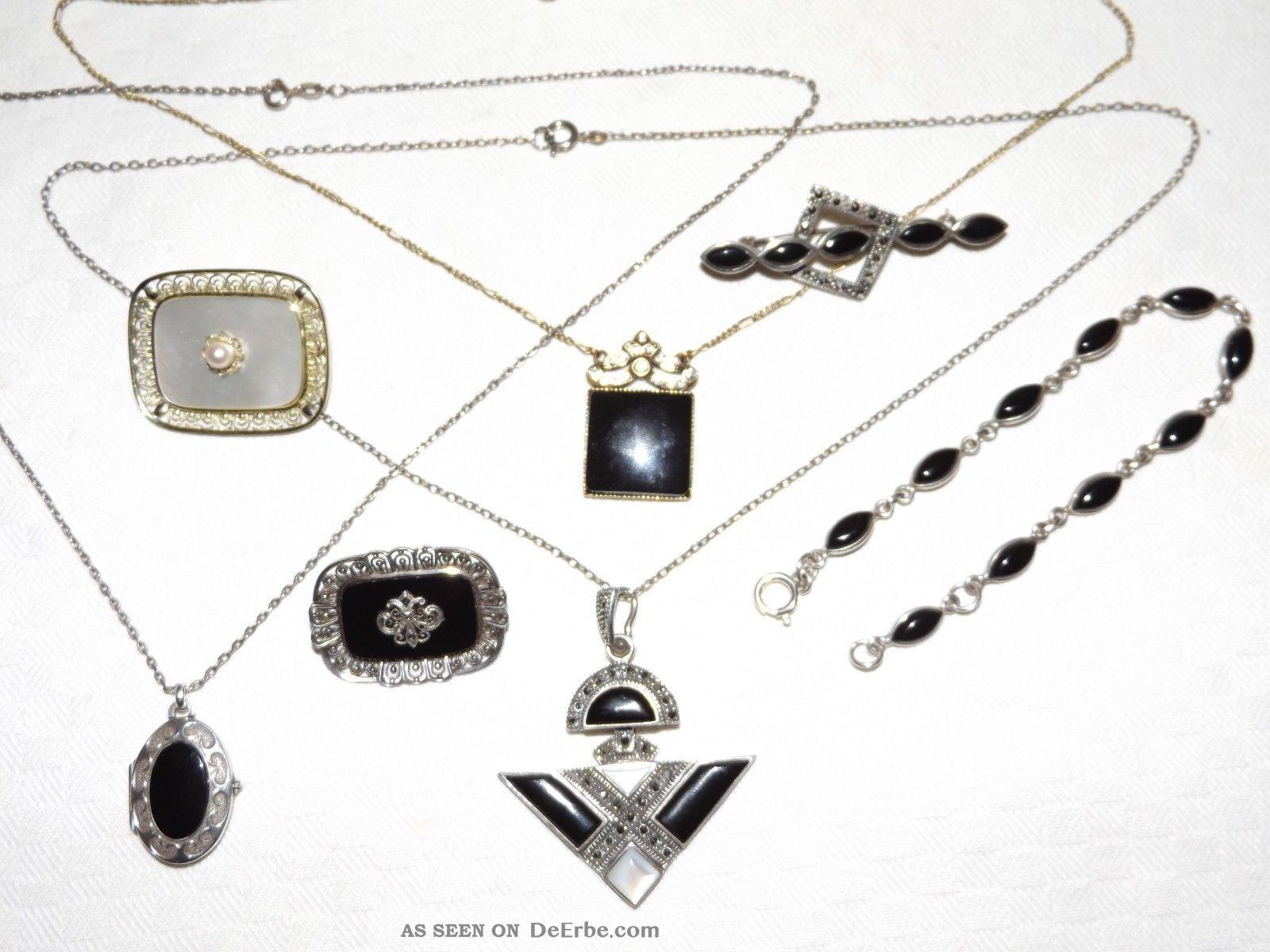 Silber Schmuck Mit Onyx,  Perlmutt & Markasiten,  20 - Er Jahre.  S.  800,  835,  925. Schmuck nach Epochen Bild