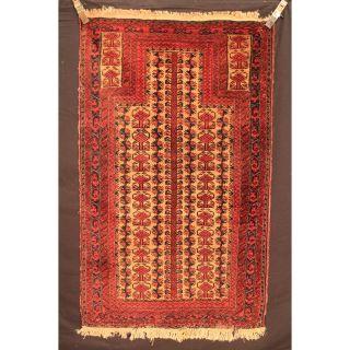 Alt Handgeknüpfter Orient Gebets Teppich Belutsch Old Rug Carpet Tapis 150x90cm Bild