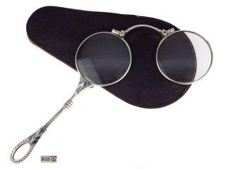 Jugendstil 900 Silber Schwarze Emaille Lorgnon Klappbrille Brille Bild