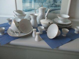Teeeeservice Rosenthal Gräser Form 2000 - 50er - 29teilig Mit Goldrand - Top Bild