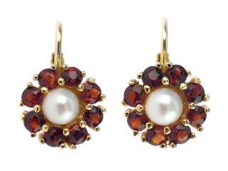 Art Deco 333 Gold Böhmische Granat Perle Damen Ohrringe Bild