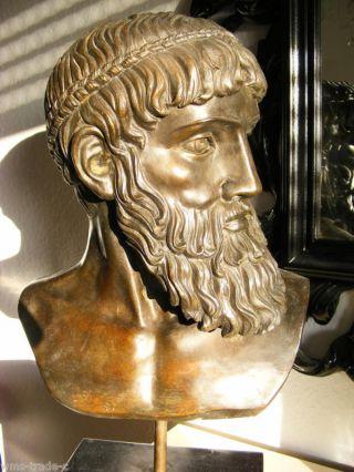 12 Kg Zeus Bronze Büste Bronzeskulptur Bronze Skulptur Bronzefigur Bronzebüste Bild