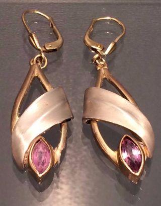 Ohrring Ohrhänger Mit Amethyst Teilvergoldet 925er Sterlingsilber - Sehr Hübsch - Bild