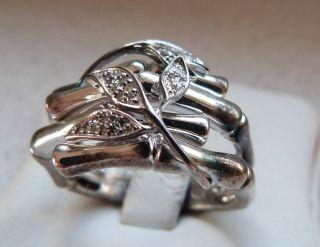 Art - Deco 925er Silber Ring Bambus Meisterpunze