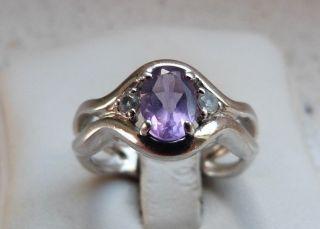Art - Deco 925er Silber Ring Mit Amethyst Und 2 X Bergkristall Gr.  54 Schön Bild