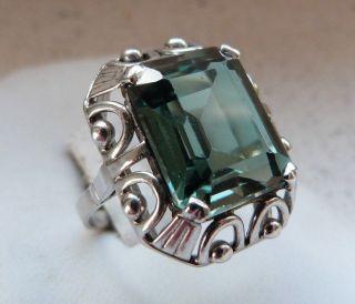 Art - Deco 925er Silber Ring Mit Großem Grünen Turmalin Gr.  52 Massive 6,  8 Gramm Bild