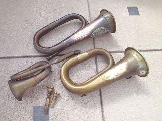 Konvolut Blashörner Signalhorn Jagdhorn Posthorn Horn Bodenfund Messing Kupfer Bild