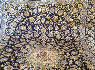 Blau Keschan Orientteppich Handgeknüpft 350 X 250 Cm Aus Iran Bild