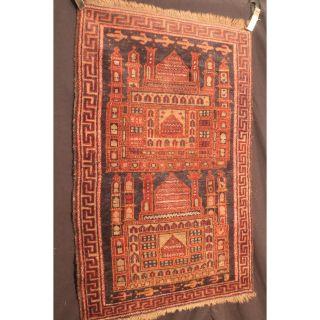 Alt Handgeknüpft Orient Sammler Teppich Belutsch Collectors Rug Antique 140x71cm Bild