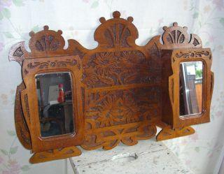 Wandschrank Hängeschrank Spiegel Frankreich Holz Jugendstil Art Nouveau 1890 Bild