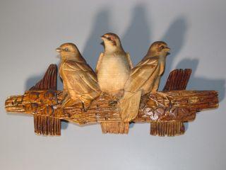 Schwalben Schlüsselbrett Antike Holz - Schnitzerei Alte Vogel Figur Geschnitzt Bild
