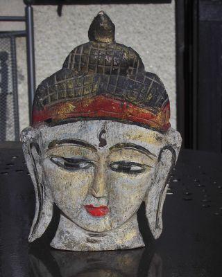 Skulptur Maske Buddha Holzgeschnitzt Aus Burma / Myanmar Wohl Um 1900 Bild