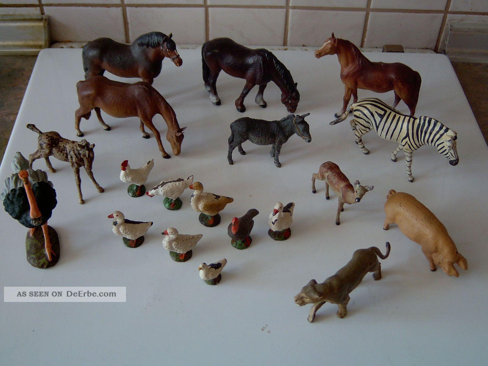 Konvolut Massefiguren Tiere (elastolin / Hausser / Lineol ?) Gefertigt nach 1945 Bild