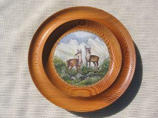 2 Stück Wandteller Aus Holz Bild