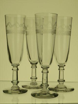 4 Sektgläser,  Champagne Gläser,  Sektflöten Um 1880 Umlaufend Decor Bild