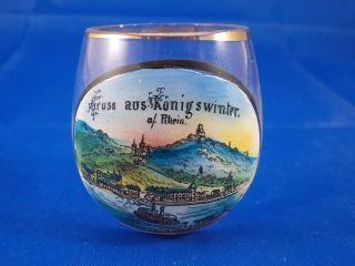 Altes Andenken Schnapsglas Gruss Aus KÖnigswinter Tummler Stehaufglas Bild