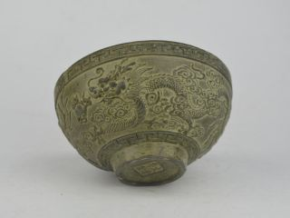 Collectible Old Exquisite China Bronze Carving Dragon Statue Bowl Bild