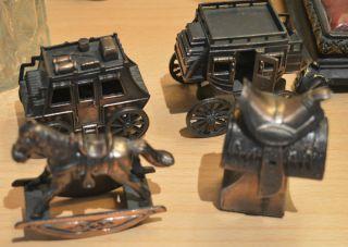 Antik 4 X Figure Metal Anspitzer Cowboy Fuhrwerk Wagenfahr Gaul,  Pferd,  Ross Bild