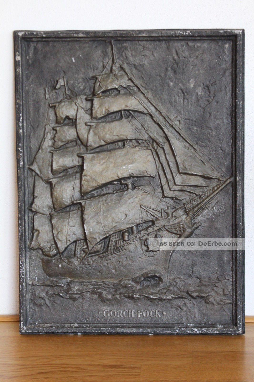 Riesiger Kunstguss Gorch Fock Segelschiff 1958 Deutsche Marine 45,  7 X 60,  7cm 6kg Gefertigt nach 1945 Bild