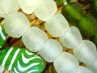 Neue Afrikanische Krobo - Perlen In Crystal Matte - 8 Perlen - Ca.  13 - 14mm - Bild