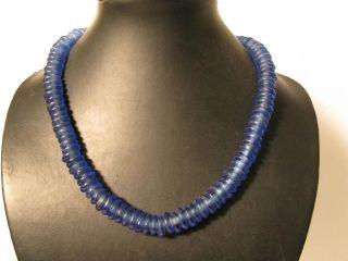 Pulverglasperlen 13mm Blue Blau Spacer Krobo Ghana Recycling Glass Beads Afrozip Bild