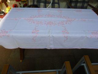 Alte Tischdecke Stickerei Handarbeit 160 X 110cm Baumwolle Weiß Rosa Kreuzstich Bild