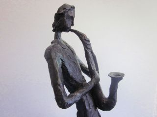 Grosse Skulptur Saxophonspieler 51 Cm Figur Plastik 70er 80er Design Bild