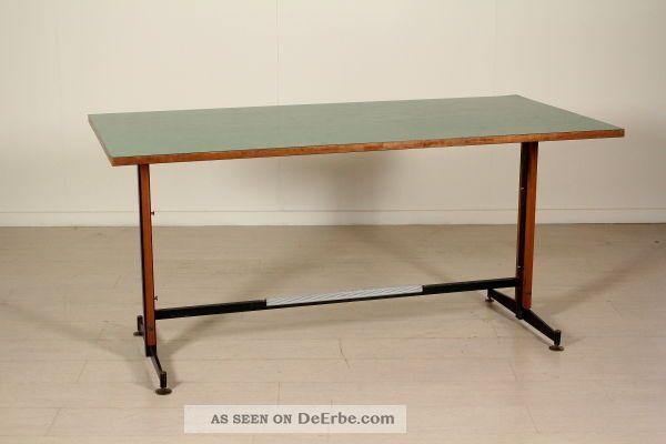 Table/desk Teak Wood Formica Metal Brass Vintage Italy 1950 1950-1959 Bild