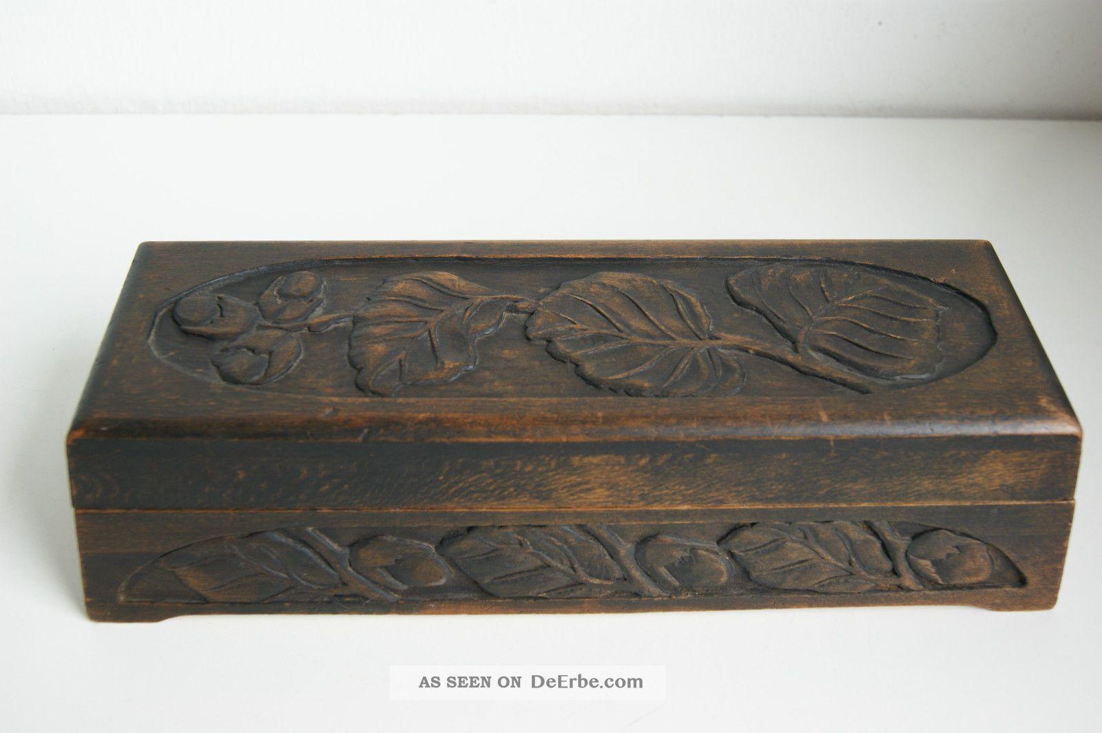 Jugendstil Schmuck - Schatulle Dose Holzdose Mit Schnitzereien Handschuhbox 1890-1919, Jugendstil Bild
