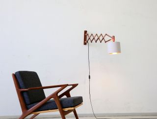60er Teak Scherenlampe Wandlampe Danish 60s Scissor Lamp Vintage Wall Light Bild