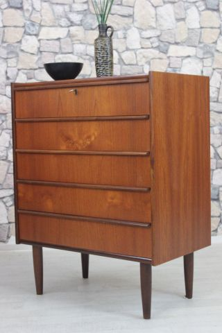 60er Teak Kommode Highboard Danish 60s Chest Teak Danish Bild