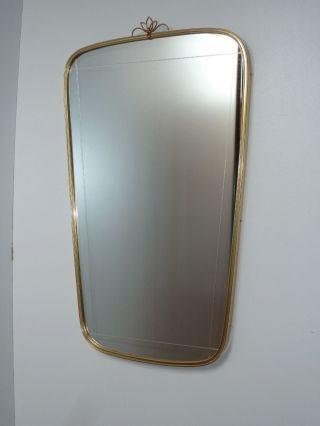 50er 60er Wandspiegel Spiegel Messing 60 Cm Garderobe 50s 60s Wall Mirror Brass Bild