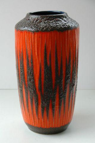 Vintage 60er 70er Xxl Scheurich Keramik Fat Lava Boden Vase Zick Zack Bild