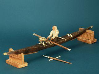 Eskimo Kajak Inuit Canoe Modell Aus Holz Und Leder 30er Jahre Fishing Kayak Bild