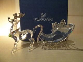 Swarovski Figur Rentier,  Schlitten,  Sleigh,  Glasfigur,  Kristallfigur Bild